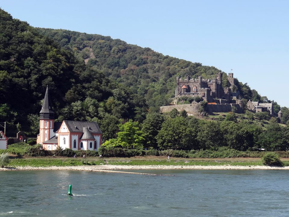 Rhine River Castle and Church