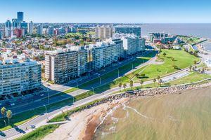 Aerial view, high angle view of Montevideo's coastline, Pocitos and Kibon neighbourhood