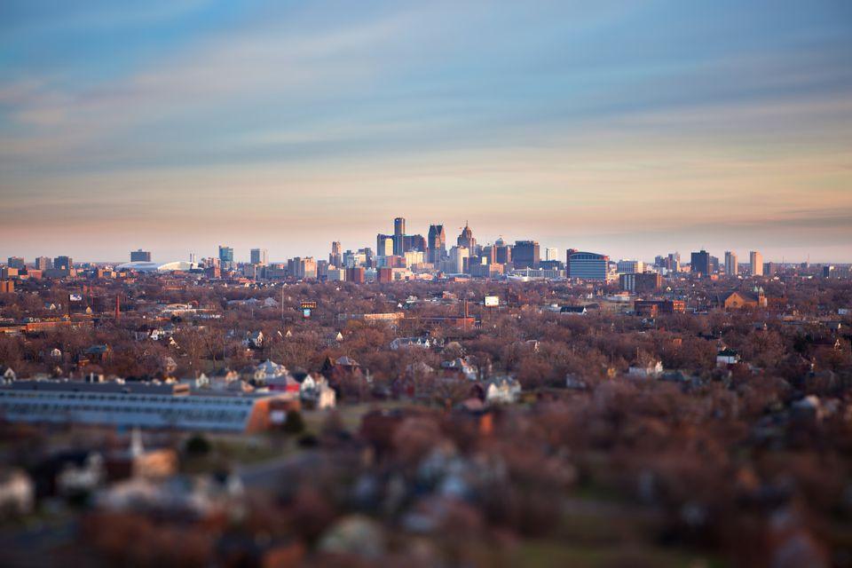 Detroit Skyline at Sunset