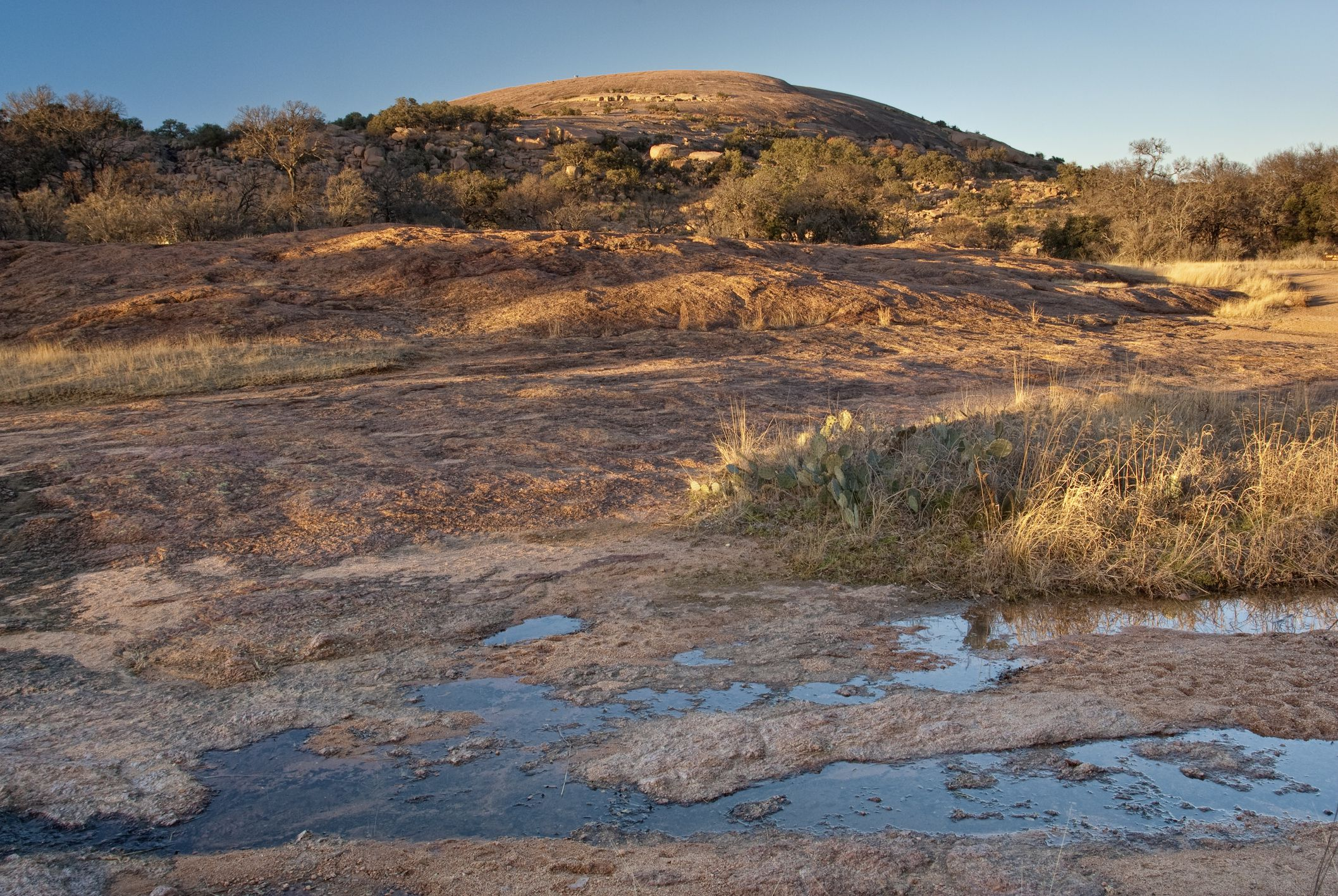 Main Dome at sunset, Enchanted Rock State Natural Area, in Hill Country near Fredericksburg.