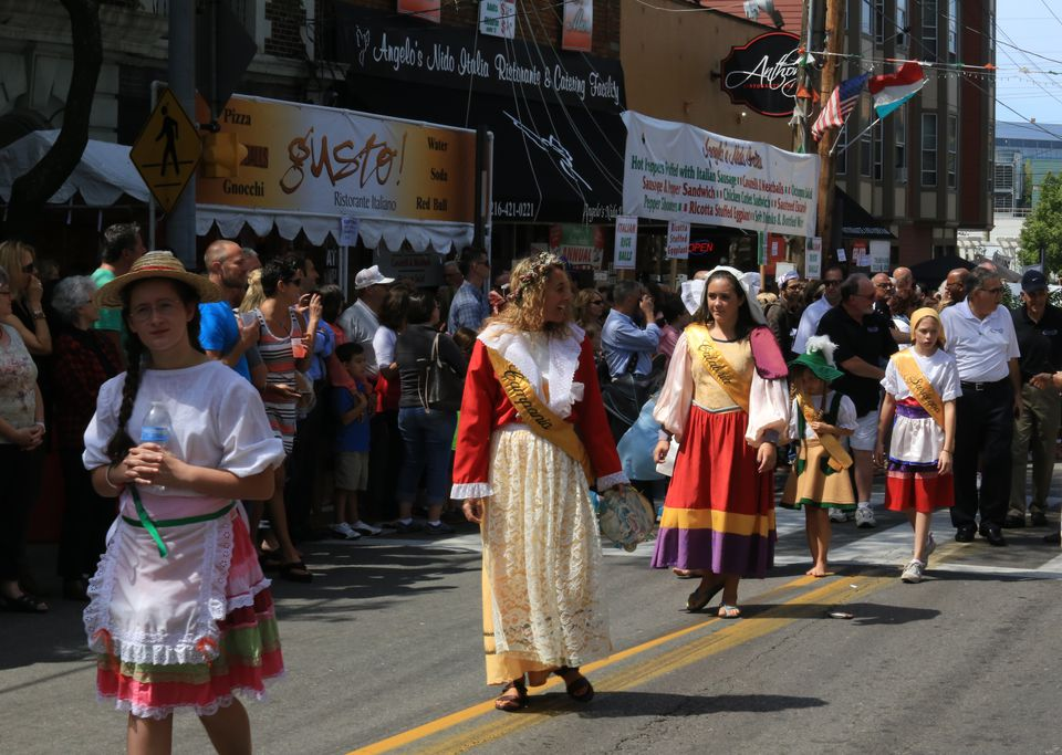 Italian Heratege Ethnic street procession, Little Italy feast of the Assumption, Cleveland, Ohio, USA