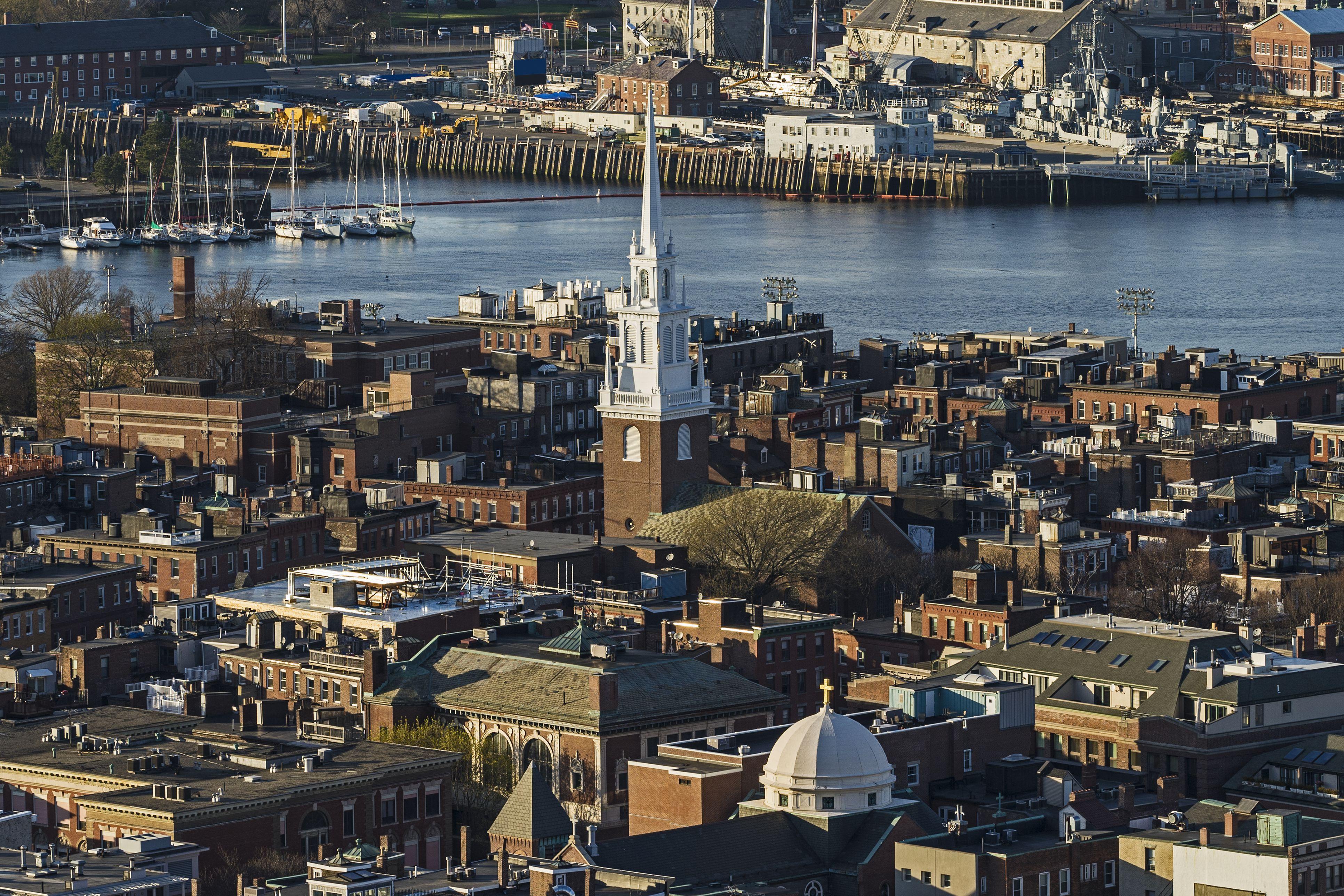 Massachusetts, Boston, Luftbild von North End und Charlestown Bereichen