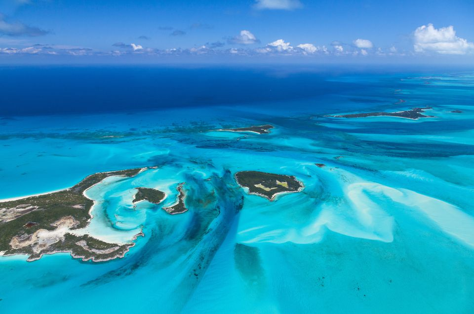 Aerial view of Exuma Islands - Bahamas