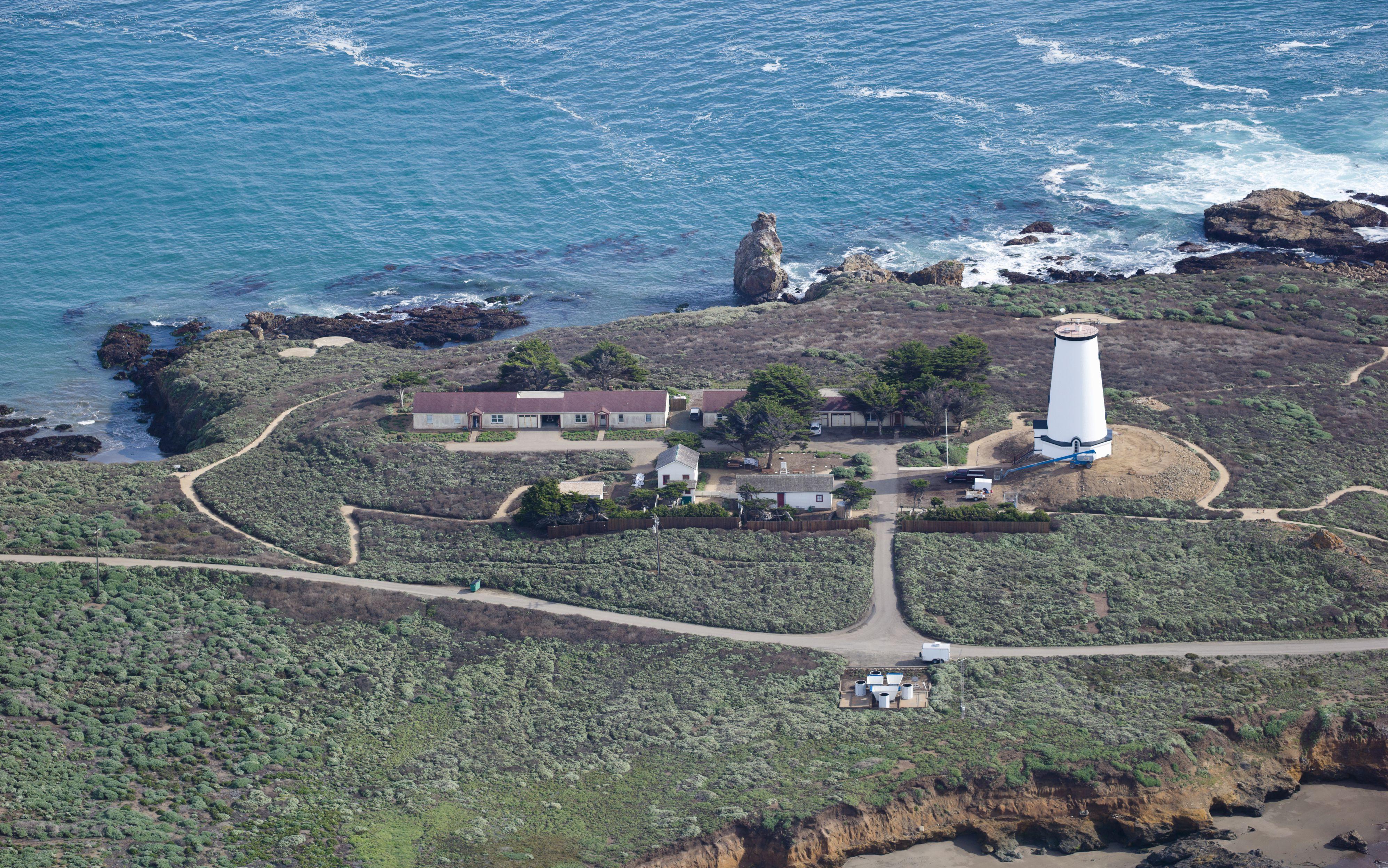Aerial view of Piedras Blancas Lighthouse on the coast, San Luis Obispo County, California, USA