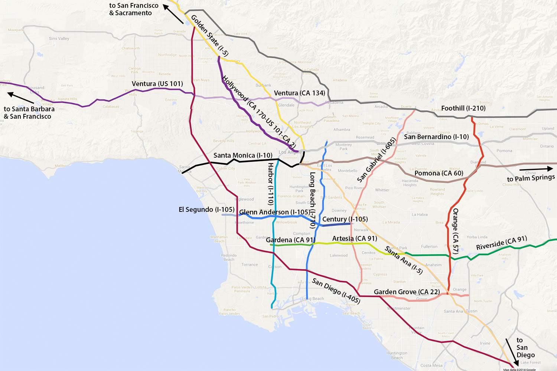 Knx 1070 Traffic Map.La Driving Freeway Names And Traffic Lingo Made Easy