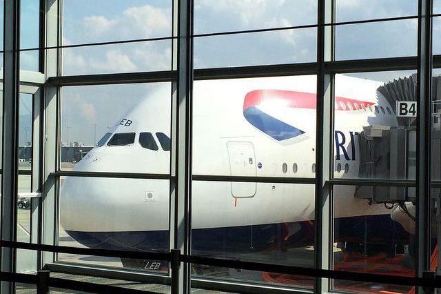 A British Airways Airbus A380 parked at a gate at Washington-Dulles International Airport.