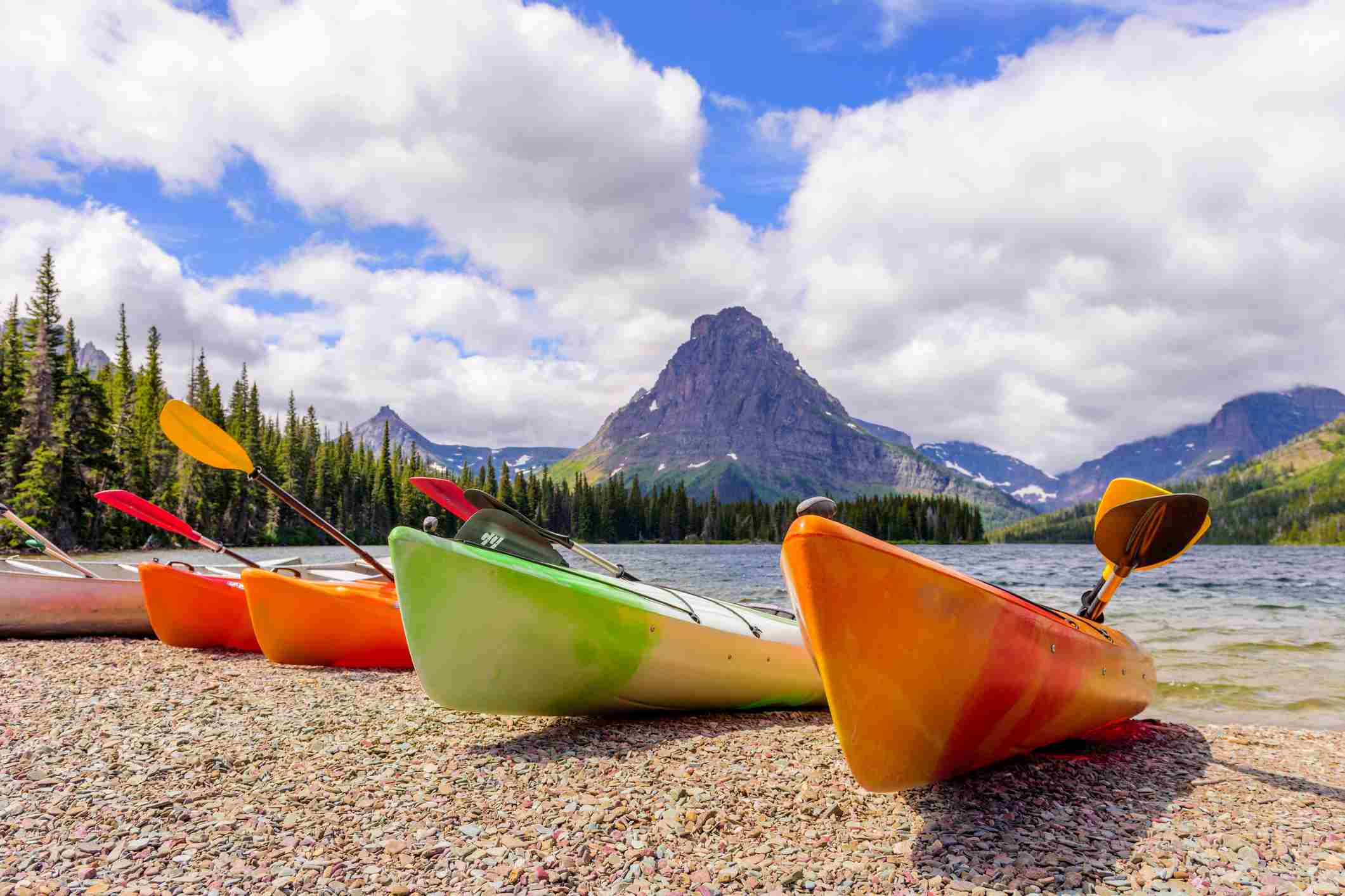 Kayaking is popular activity in the Two Medicine lakes