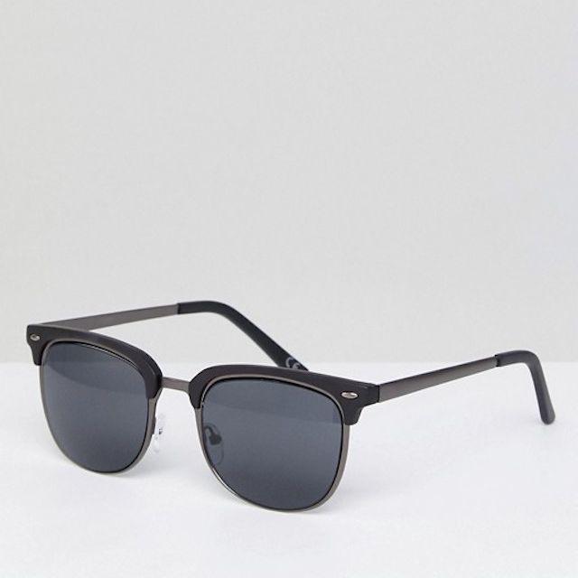 ASOS DESIGN retro sunglasses in gunmetal & matte black