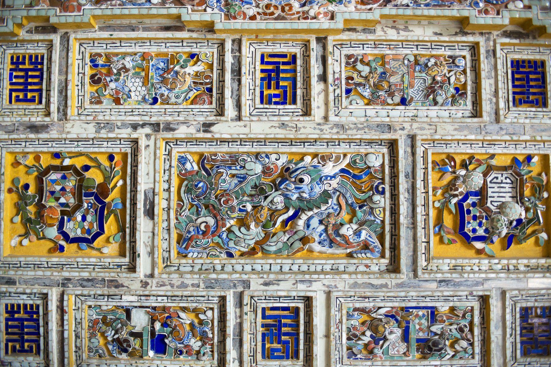Detail, inlaid ceramic mosaic, Thien Dinh Palace, Khai Dinh Royal Tomb, Hue, Vietnam.