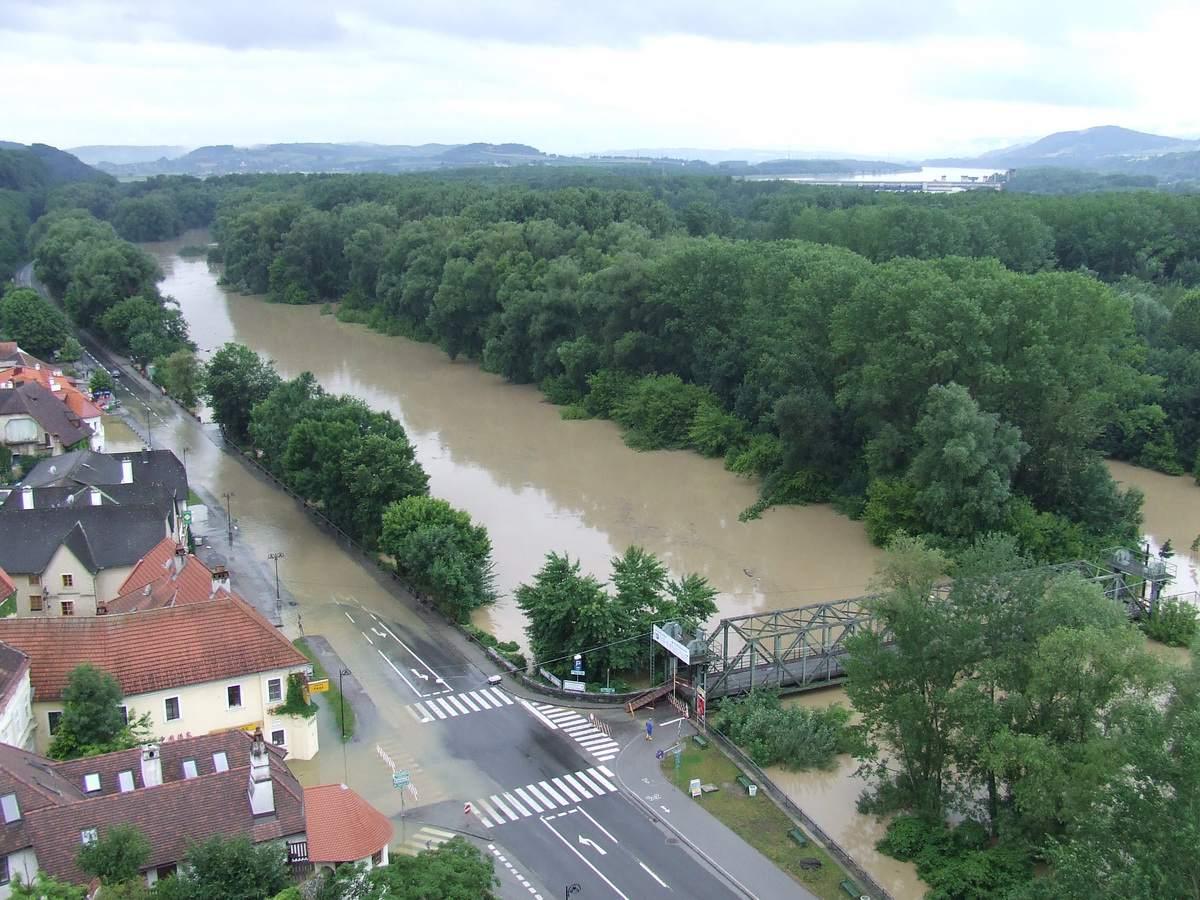 Flooded Danube River in Melk, Austria