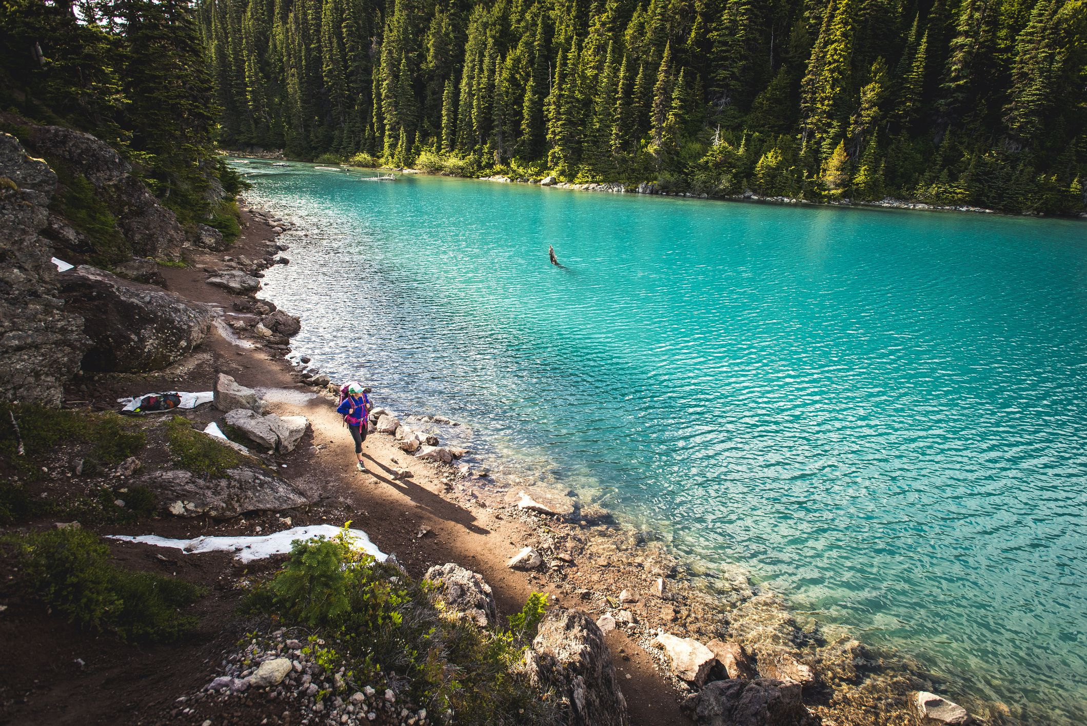 The shore of Garibaldi Lake in Garibaldi Provincial Park, British Columbia, Canada