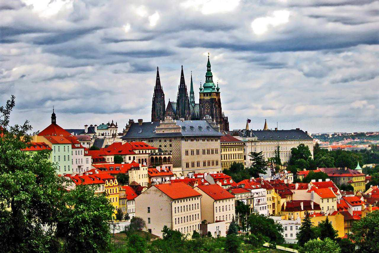 Prague Castle and city in the summer