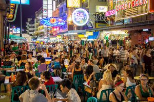 A crowded scene on Khao San Road, Bangkok's backpacker area