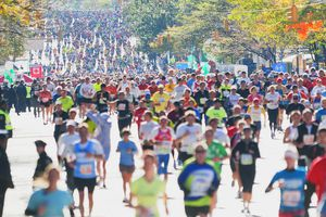 Runners participating in the New York City Marathon.
