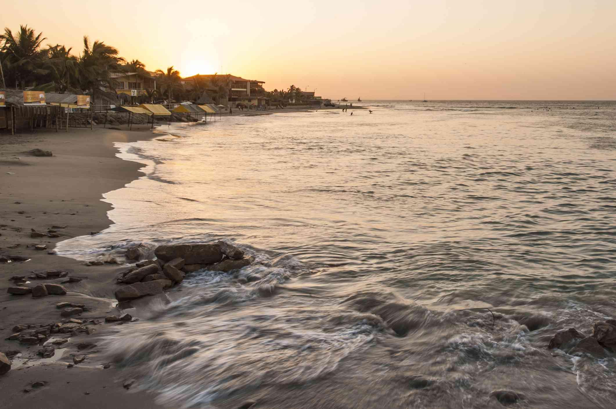 Sunset on the beach in Mancora, Peru