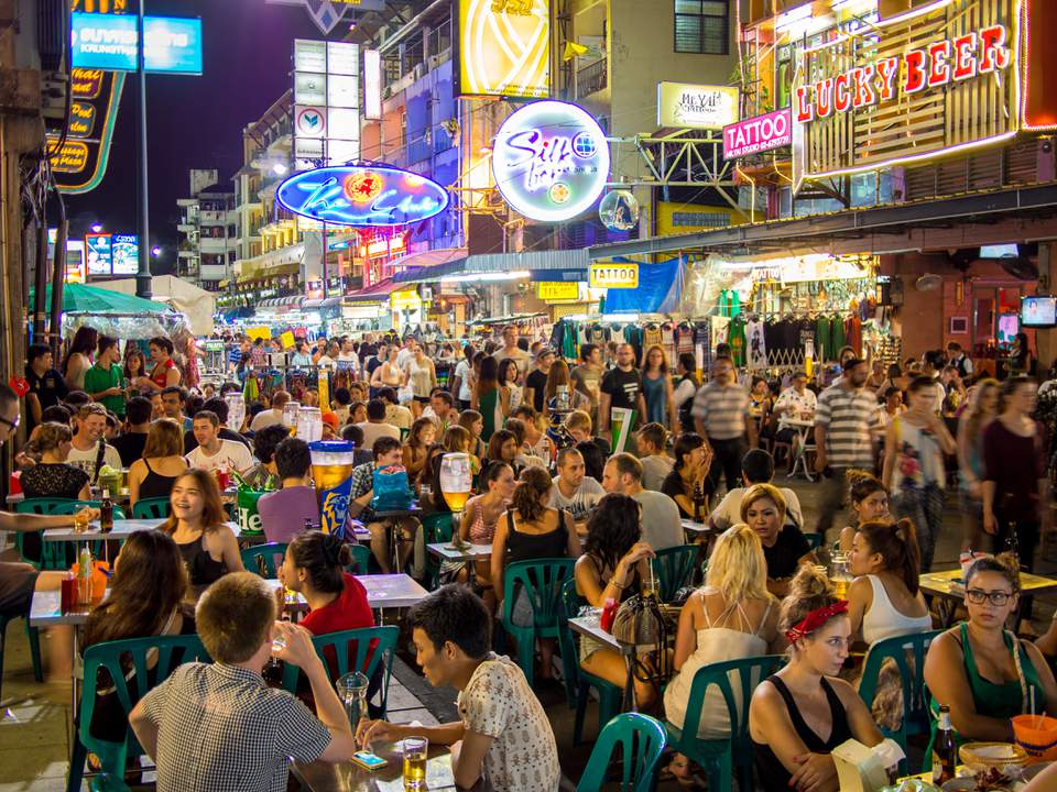 A crowded scene on Khao San Road, Bangkok's backpacker area