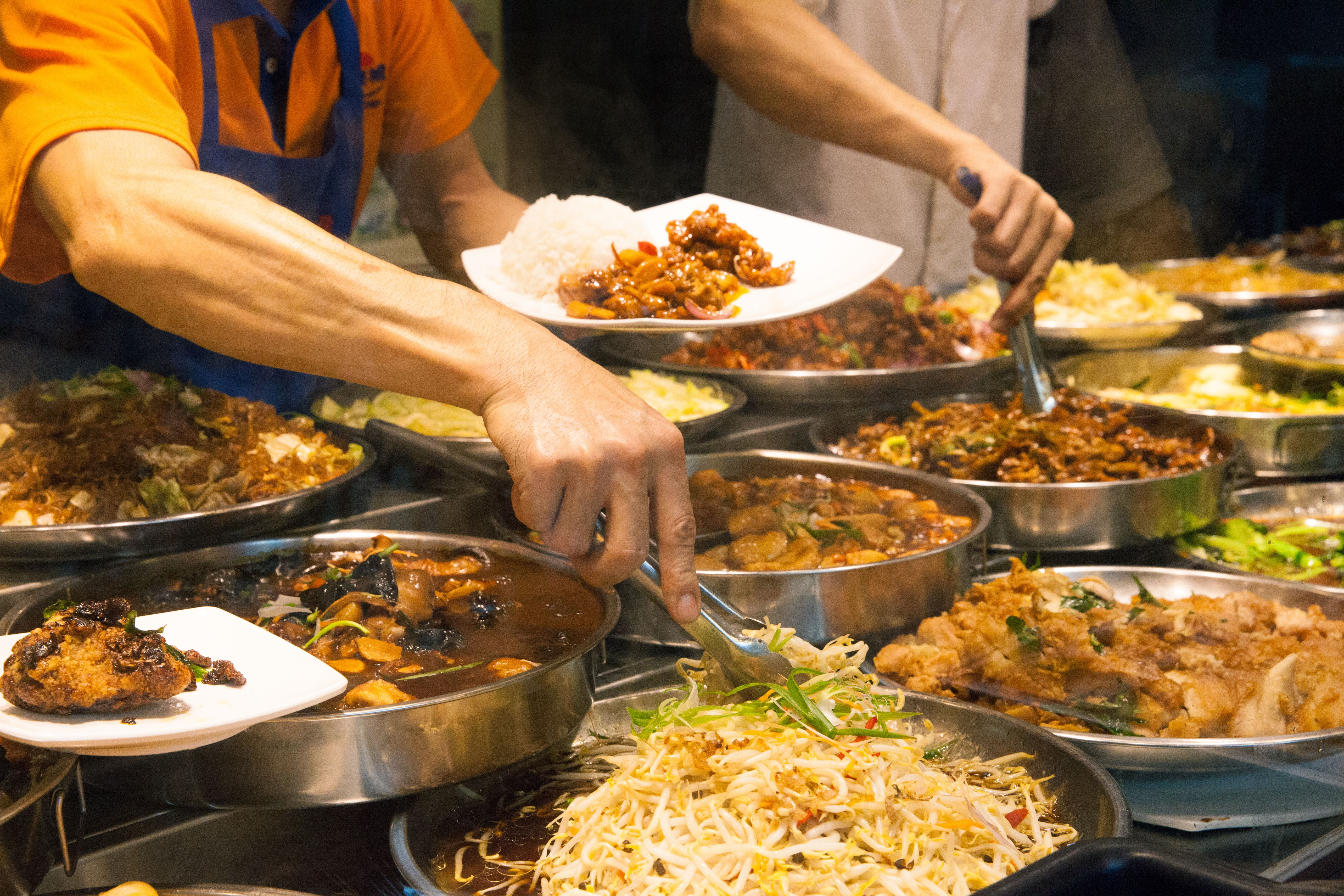 A hawker food cart in Singapore
