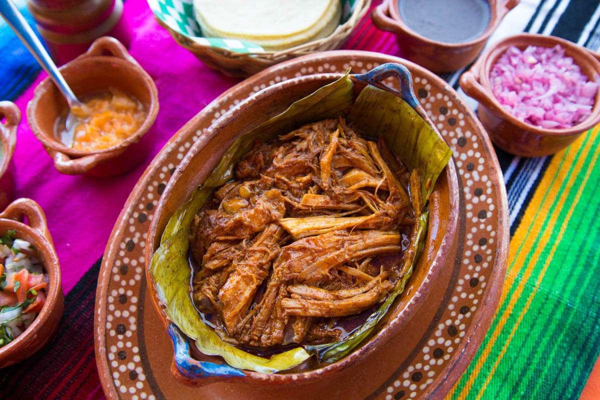 Mayan style pork at La Parrilla Cancun