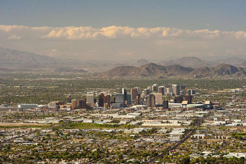 El centro de Phoenix, Arizona, desde South Mountain