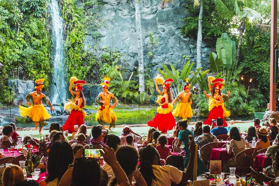 Hula dancers at a Luau