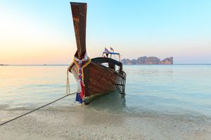 Longtail boat on beautiful beach of South Thailand