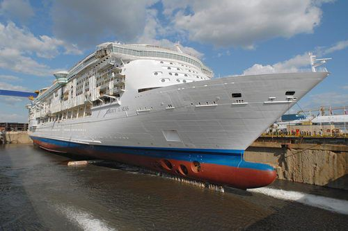"The bow of the Liberty of the Seas as she ""floats out"" for the first time in August 2006."