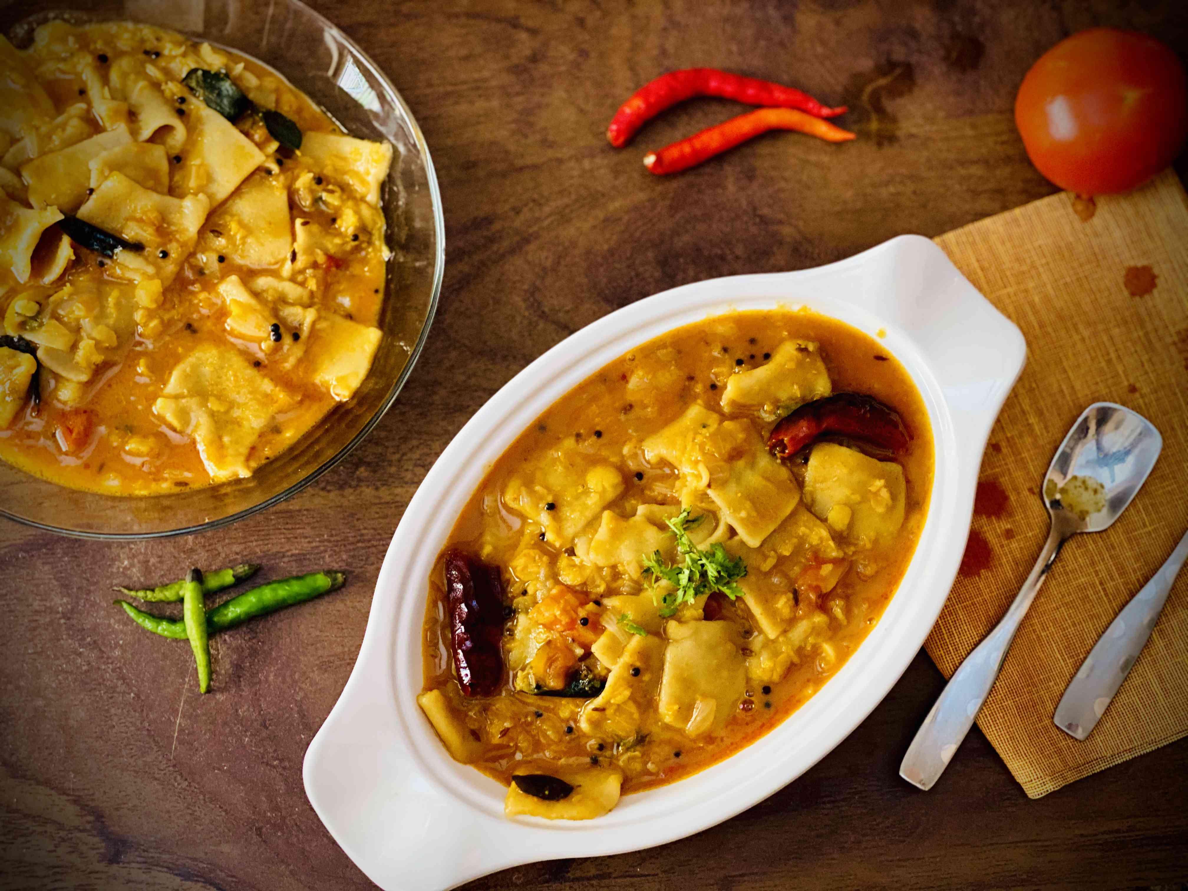Dal Dhokli Indian Full Meal Wheat Pasta