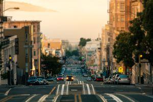 Cars on the Streets of San Francisco at Morning, California