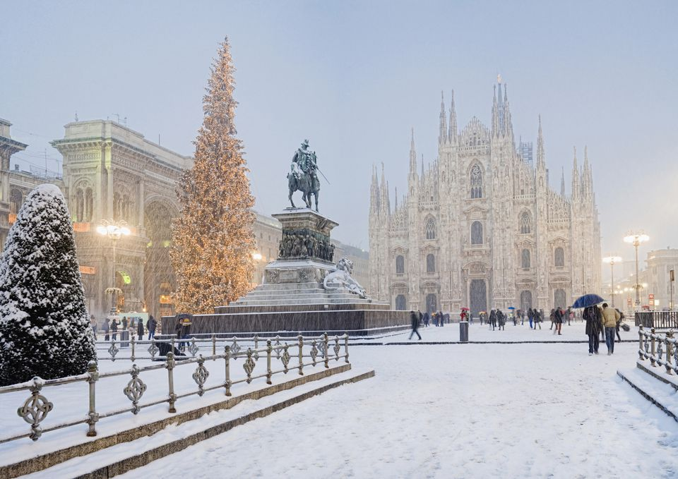 Snow falling at Christmas time, Milan, Italy