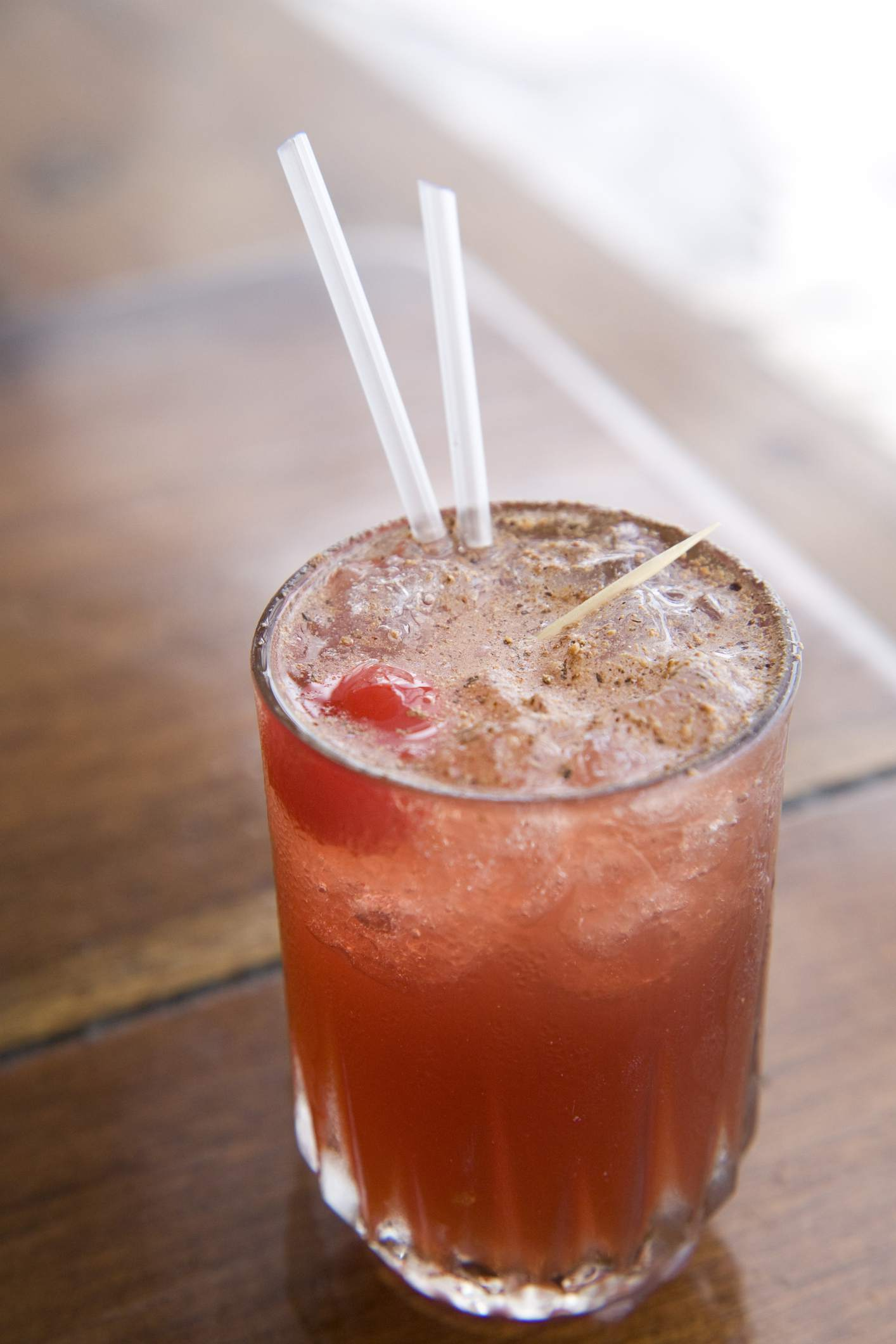 Classic rum punch sprinkled with nutmeg