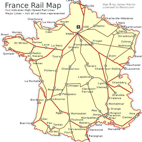 Map Of France In French.France Railways Map And French Train Travel Information