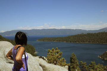 Woman taking looking at Lake Tahoe