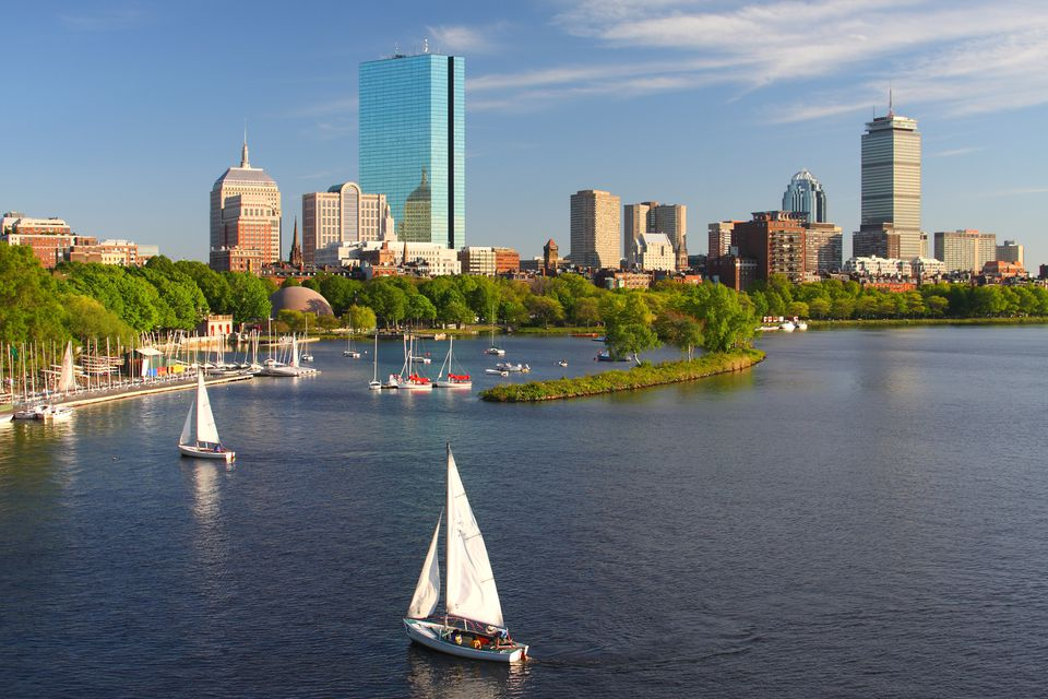 Sailboats on the Charles River with Boston's Back Bay skyline in the background
