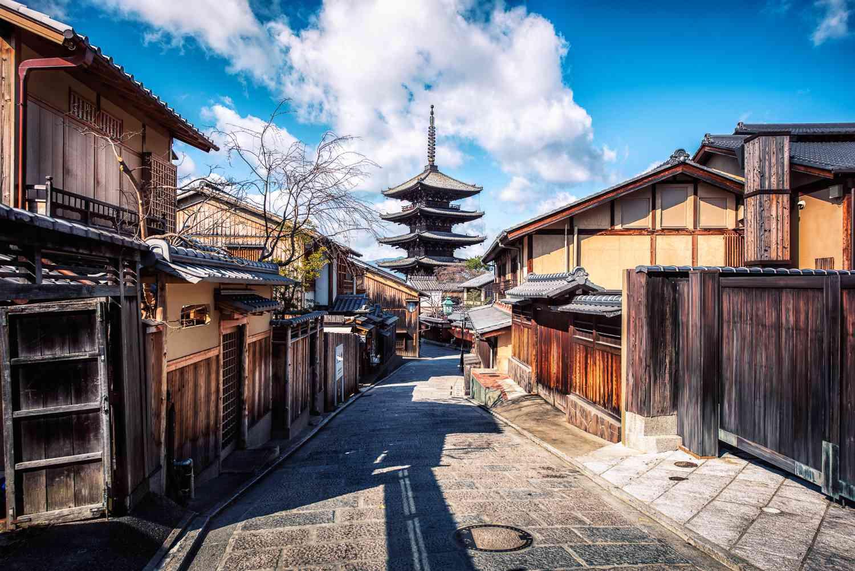 Kyoto street with pagoda