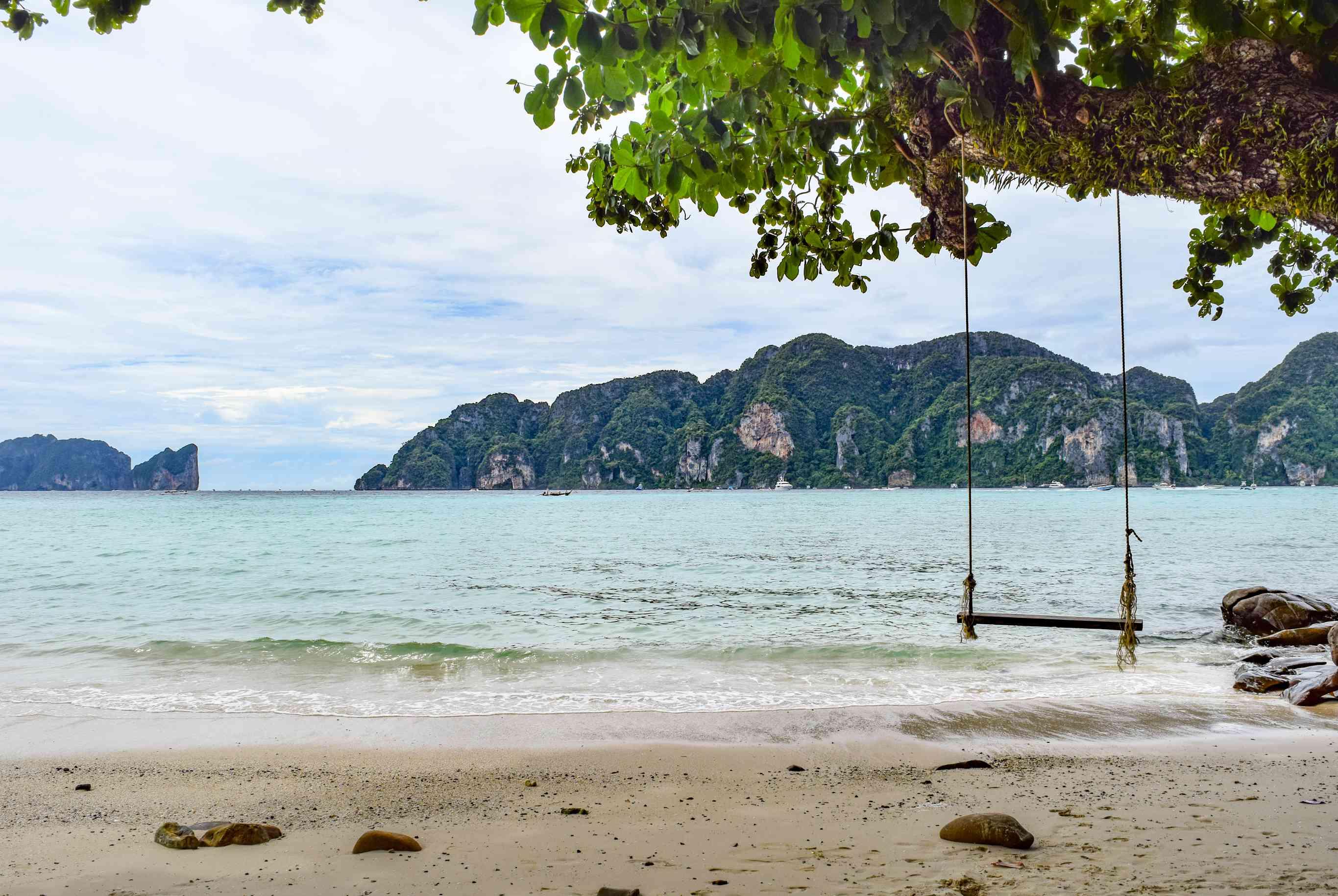 Rope swing on a beach in Koh Phi Phi