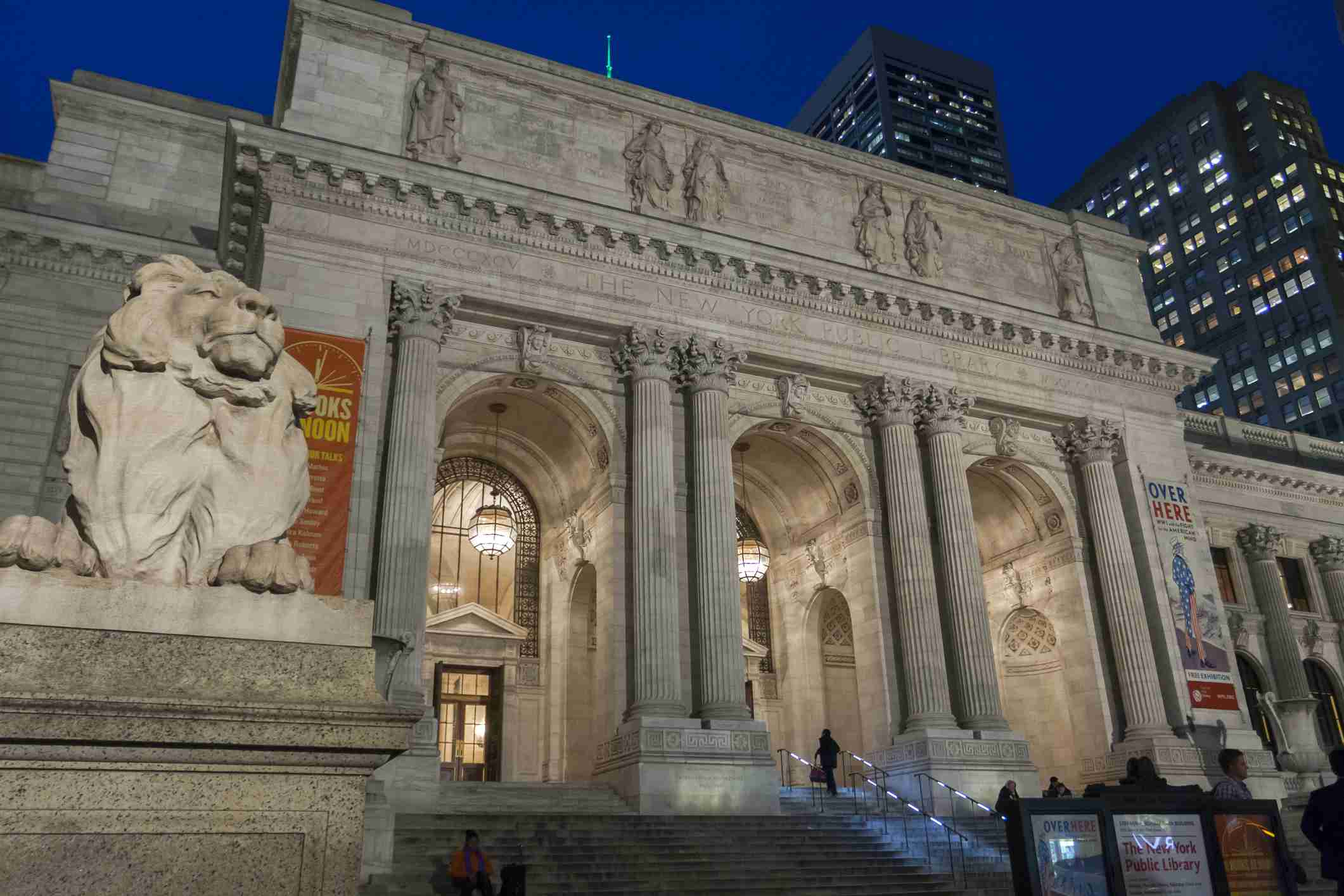 he exterior evening view of New York Public Library