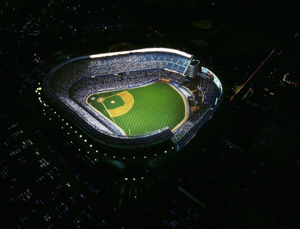 Aerial of Yankee Stadium illuminated at night