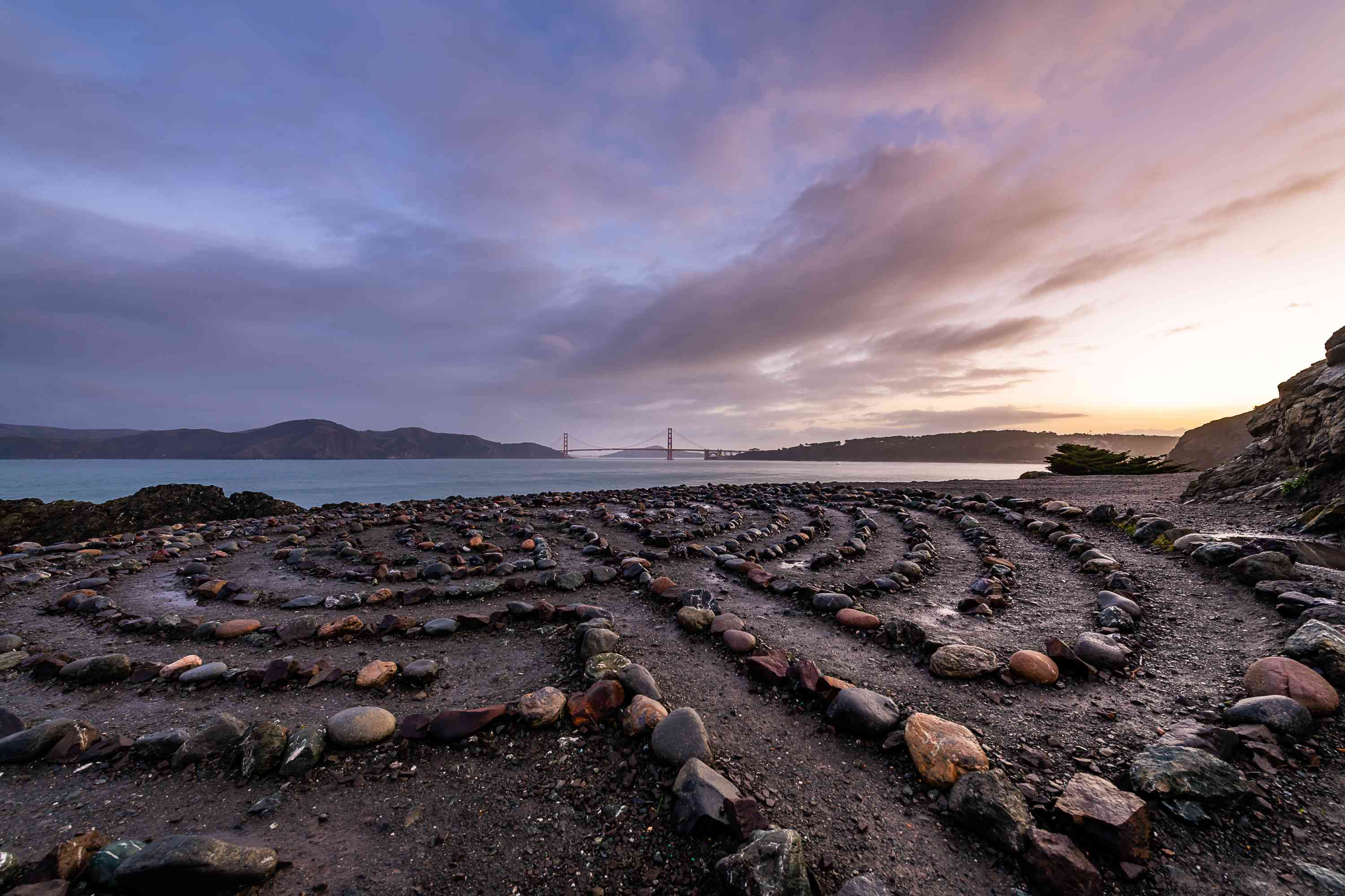 The Lands End Labyrinth at Mile Rock Beach in San Francisco