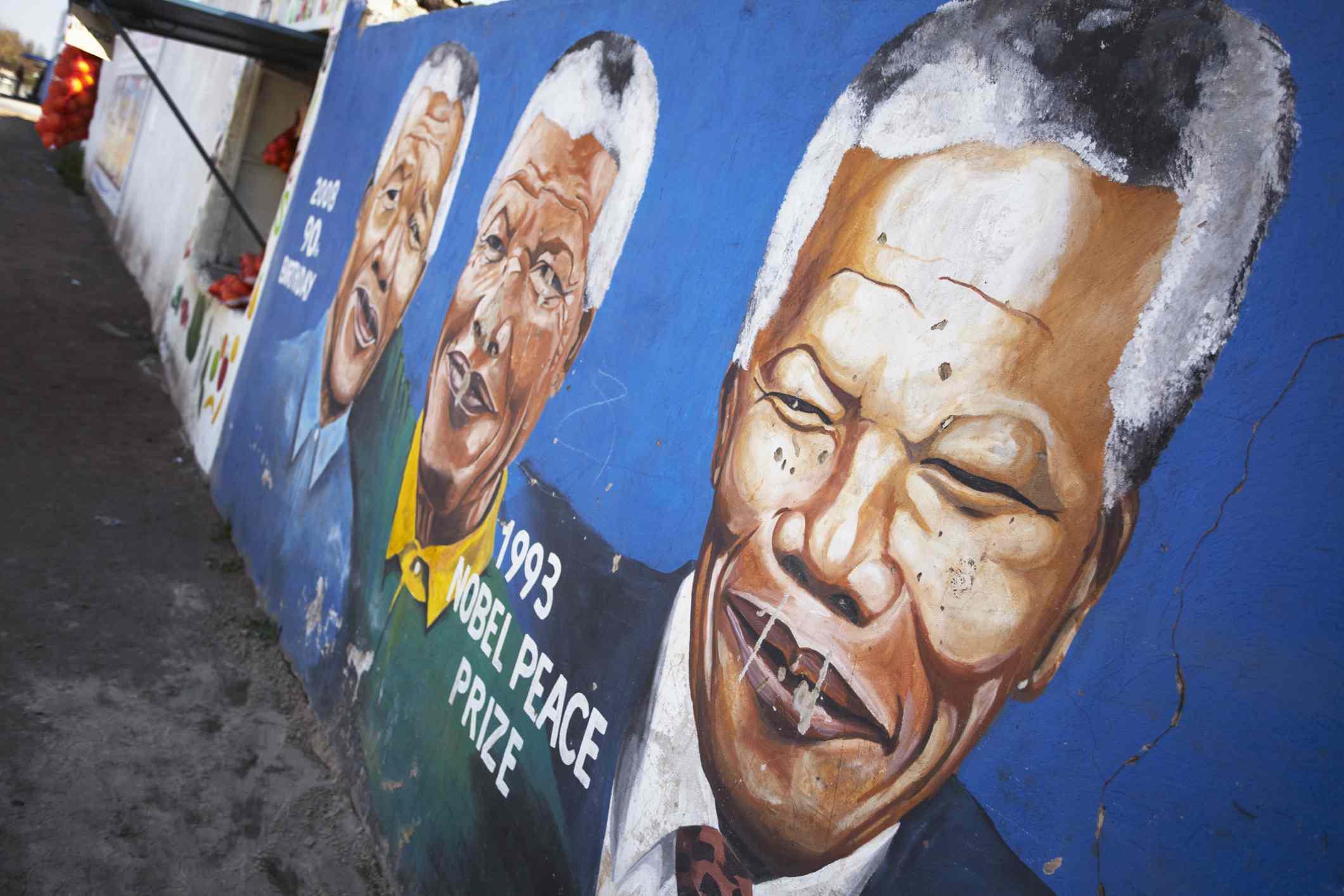 Mural of Nelson Mandela, Soweto, Johannesburg, Gauteng, South Africa