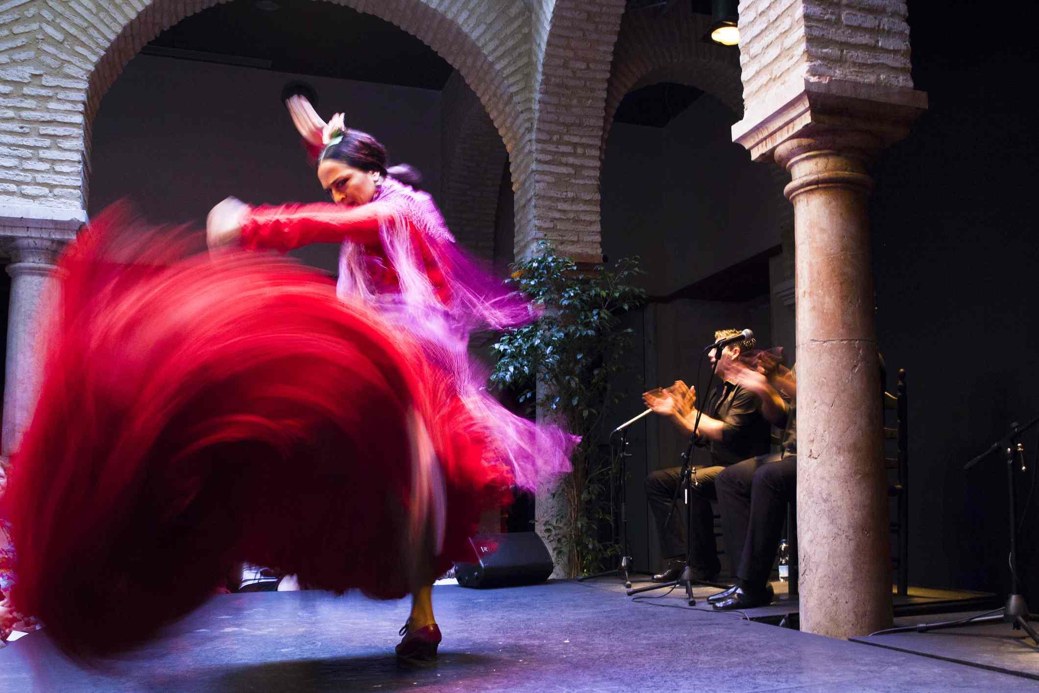 A flamenco dancer dancing.