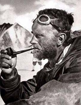 Eric Shipton smoking a pipe
