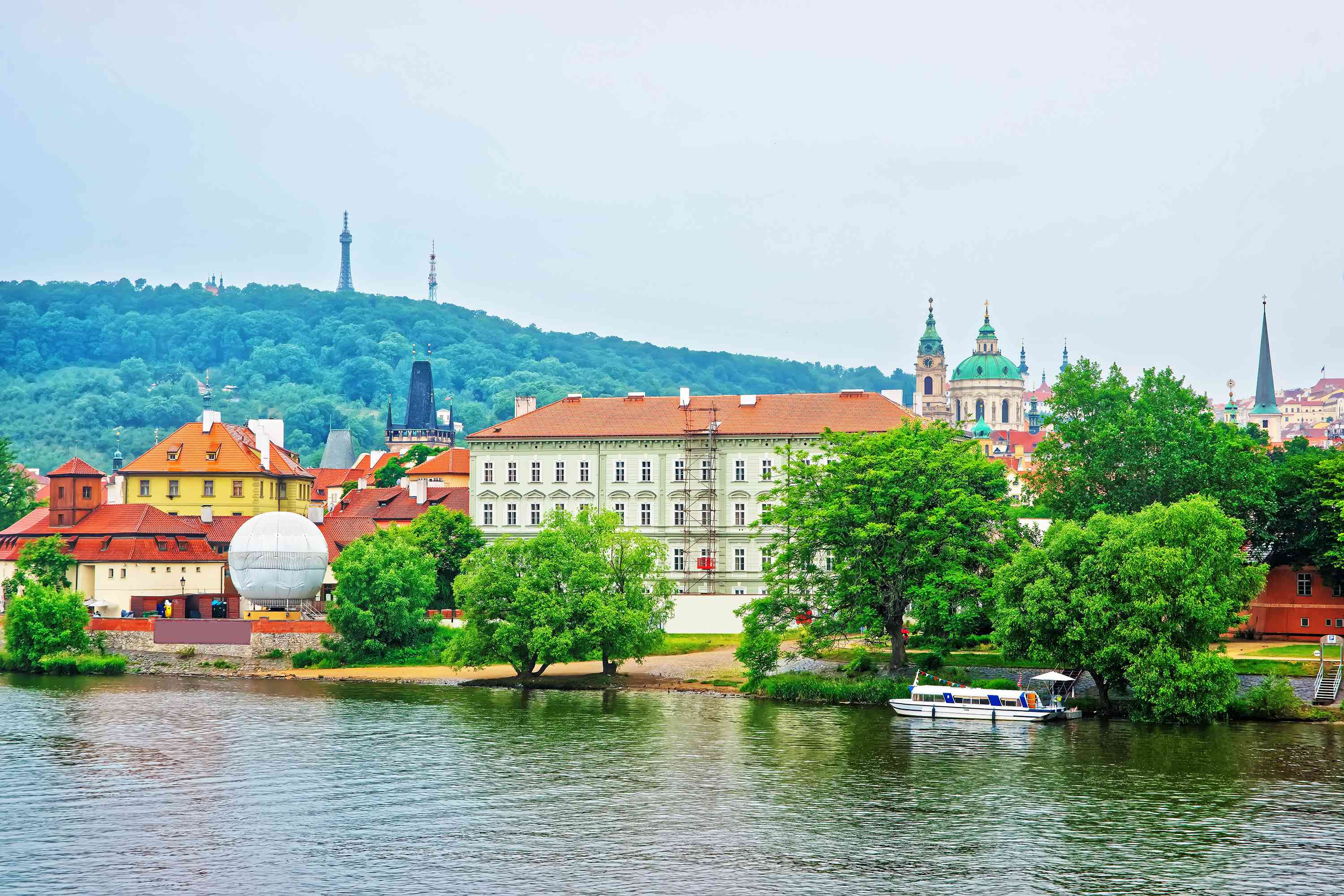 Vltava River with Kafka Museum and Old town of Prague
