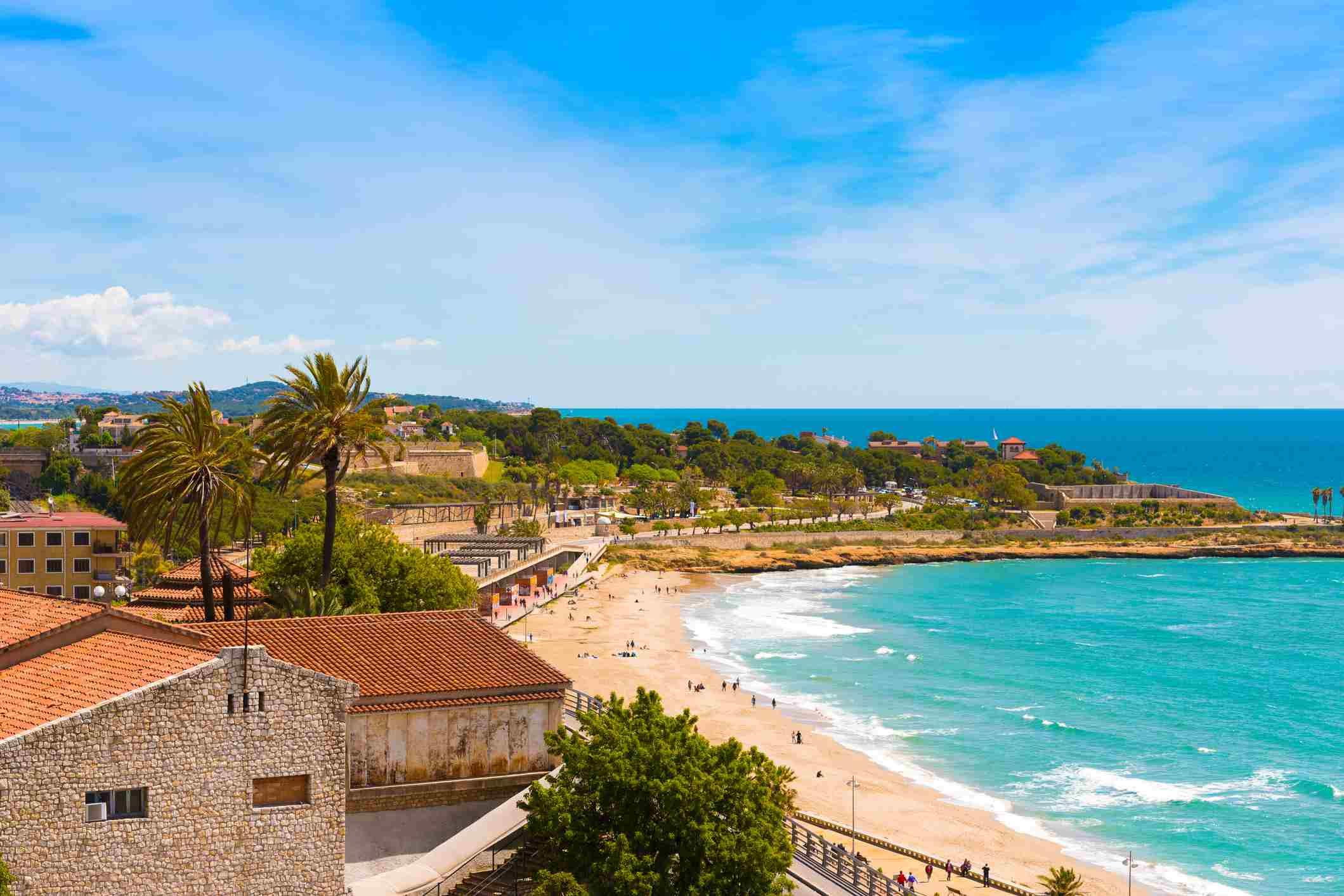 Coast of Tarragona in sunny day, Catalunya, Spain