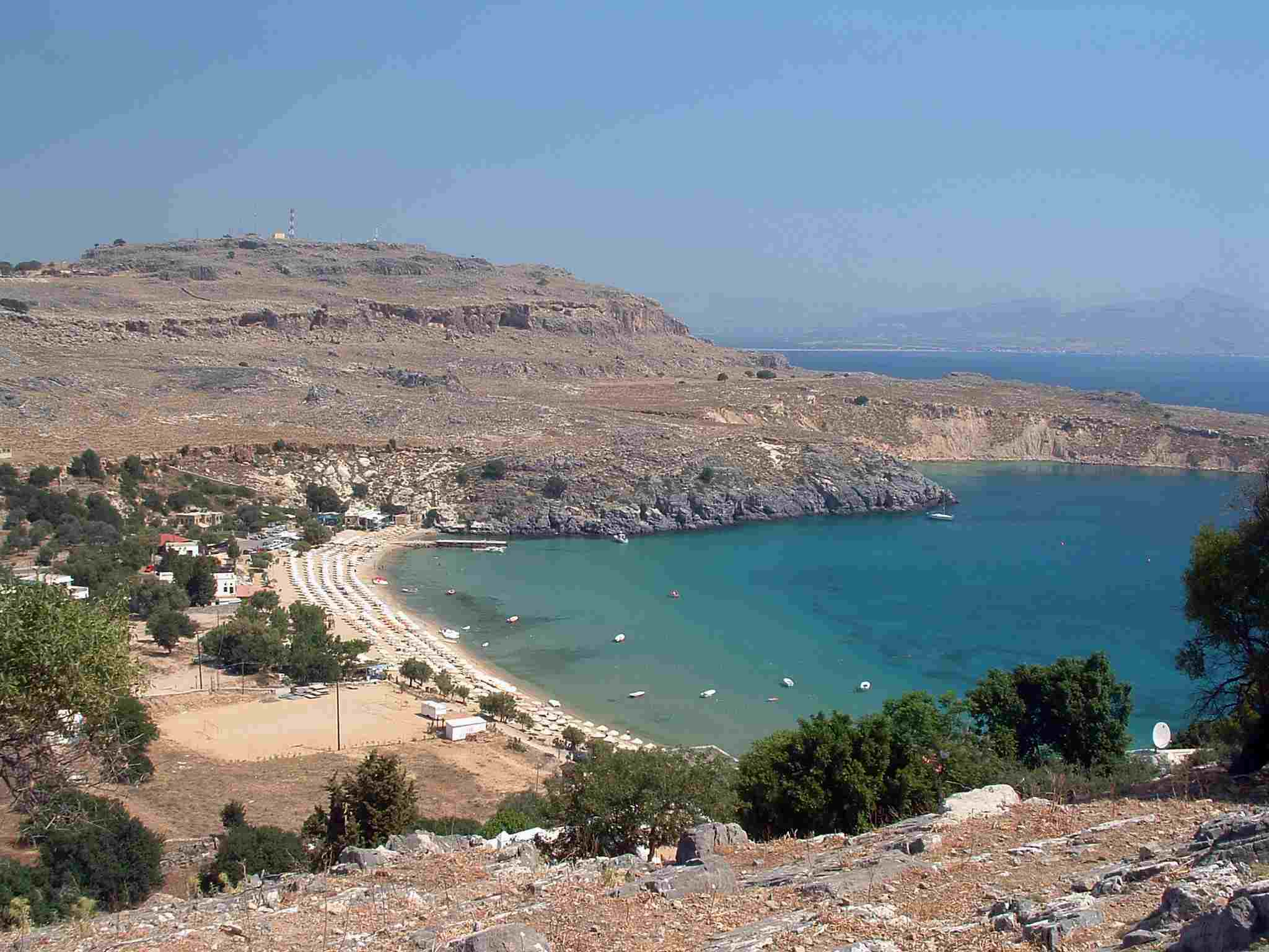 Beach at Lindos on the Greek island of Rhodes