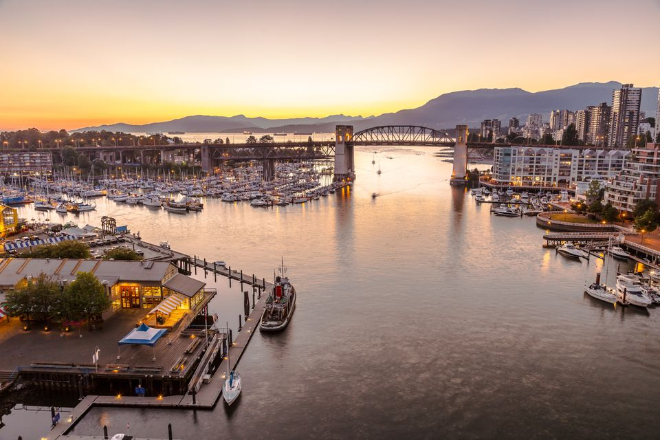 Burrard Bridge and Granville Island at sunset time