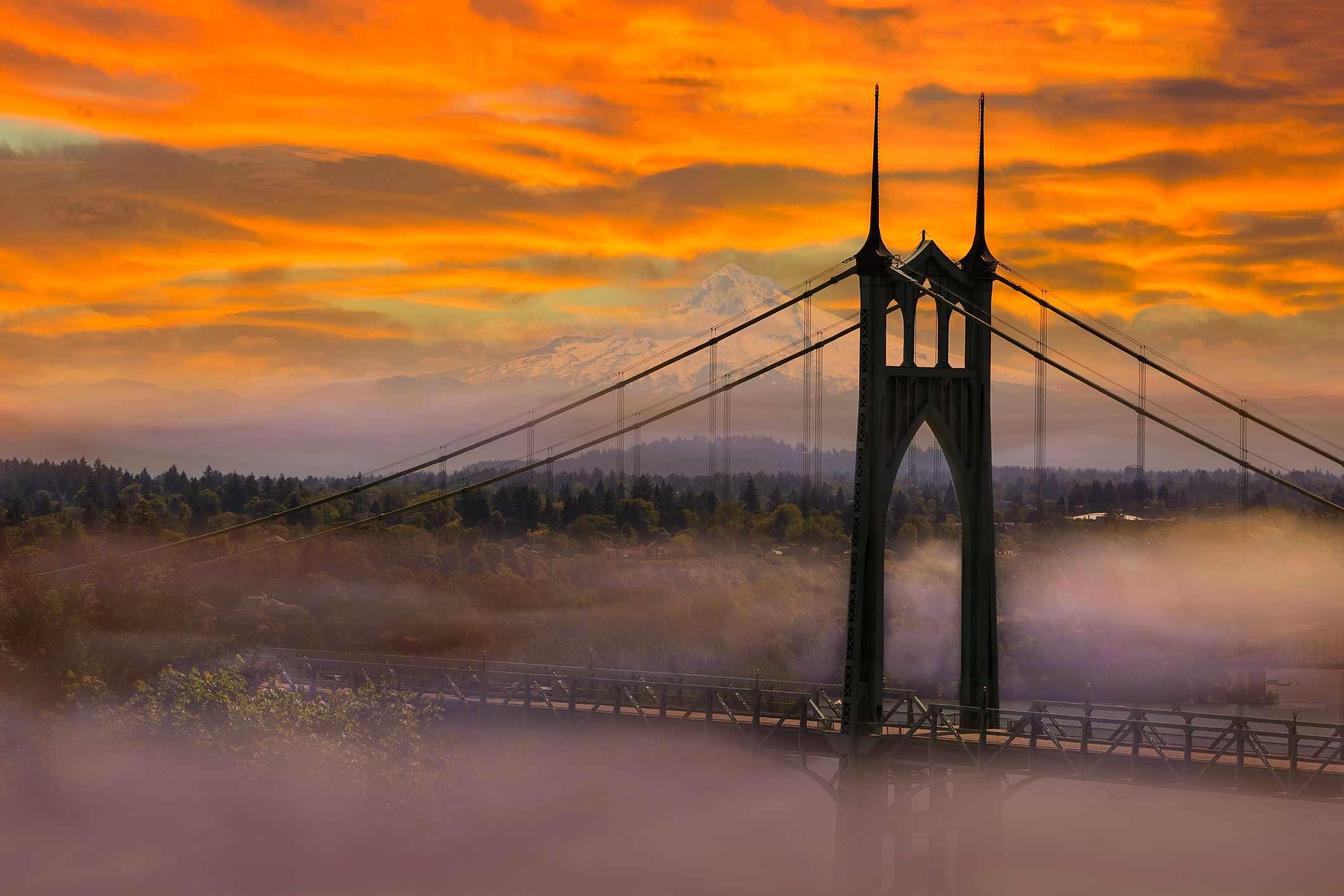 Mt Hood by St Johns Bridge in Portland OR on a foggy morning sunrise USA