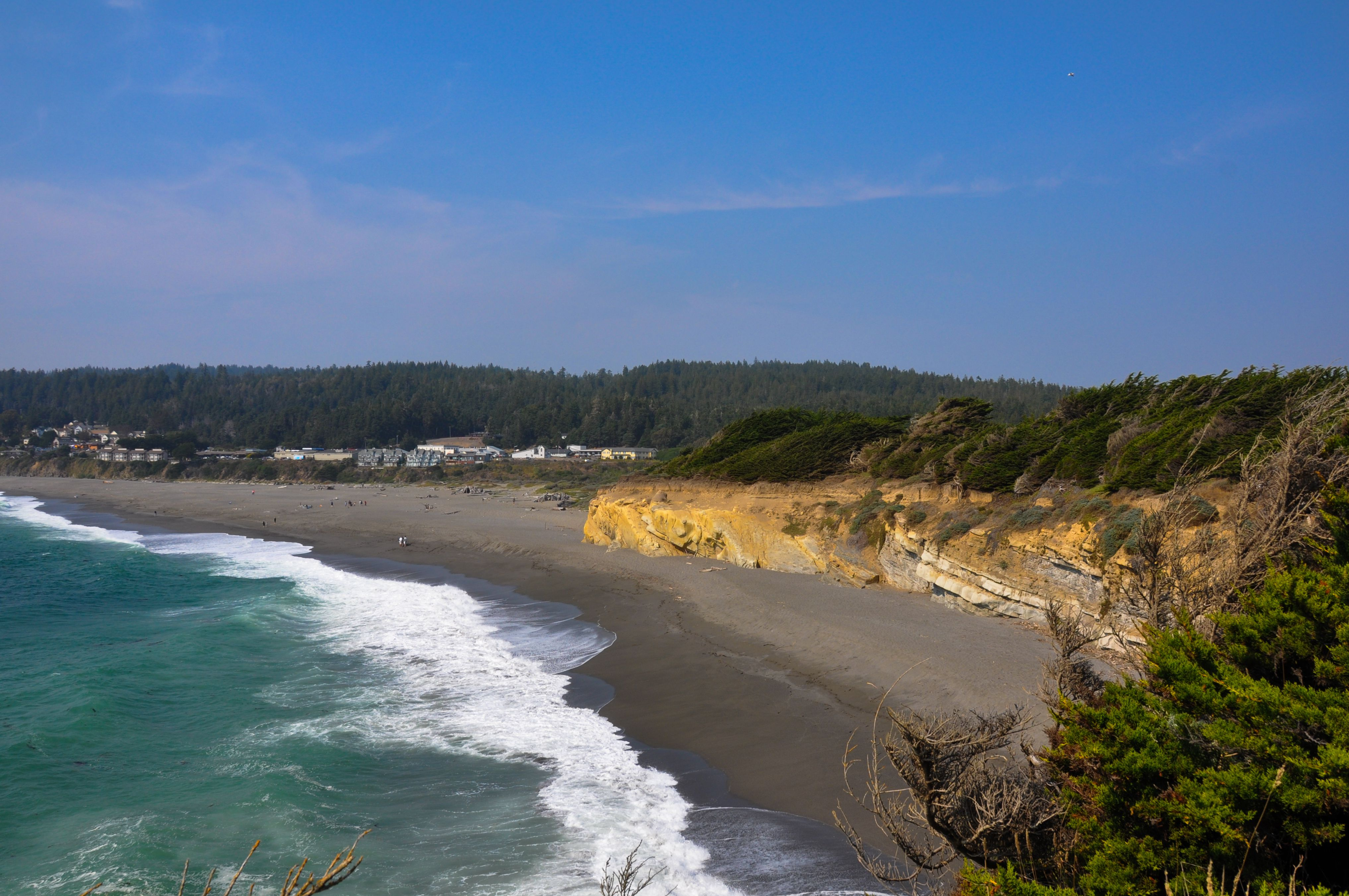 View of the Pacific Ocean overlooking the town of Gualala in Northern California with breaking waves