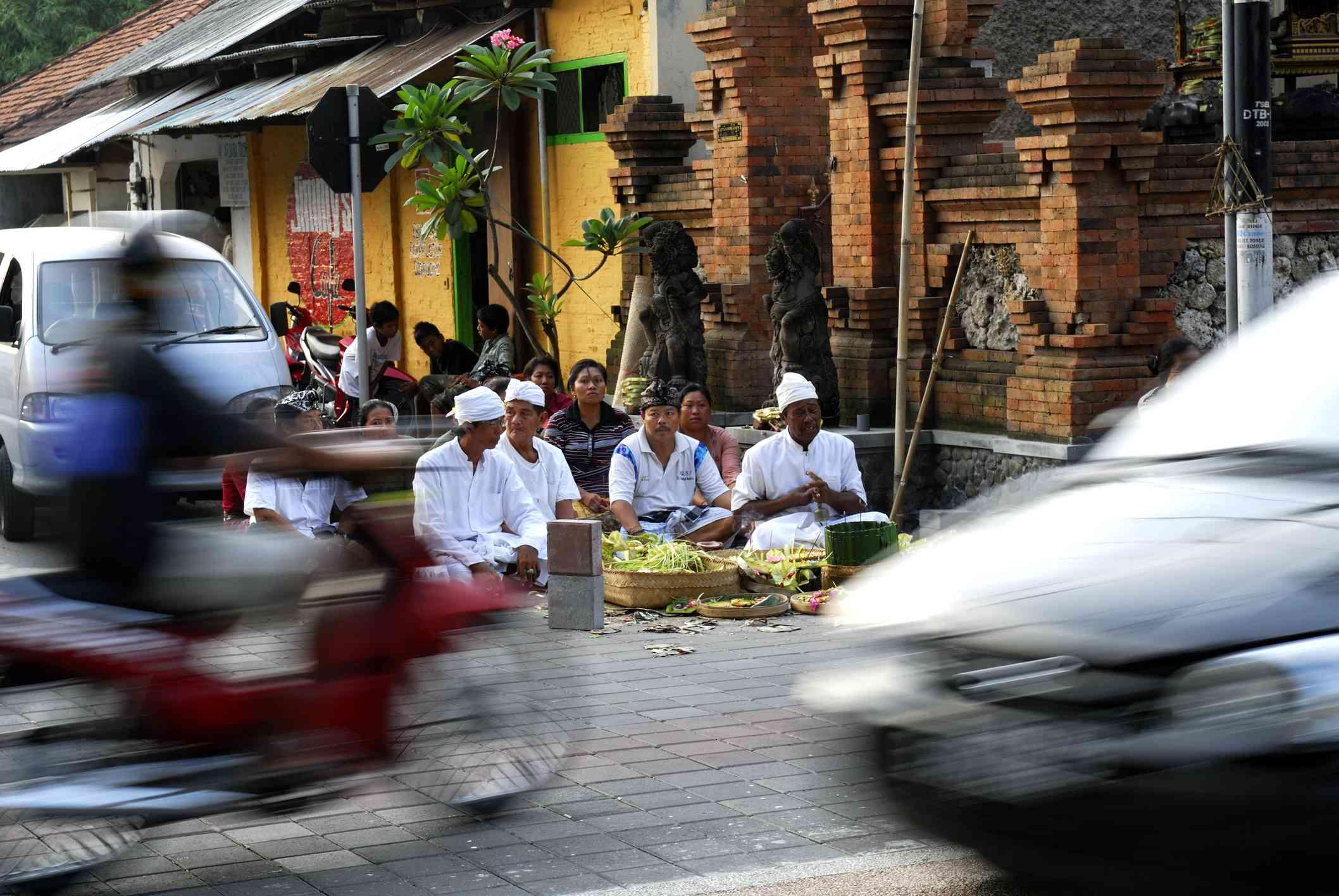 Busy roadside in Bali