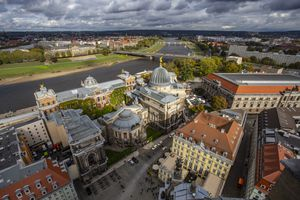 Aerial view of Dresden and the Elbe river
