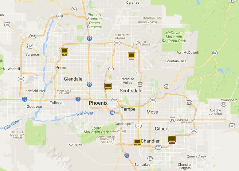 Map of Apple Stores in Greater Phoenix, AZ